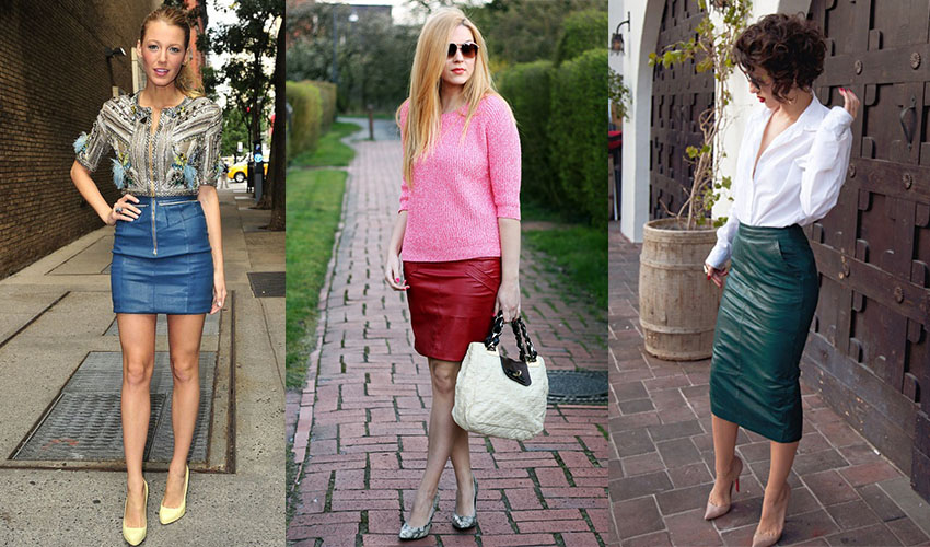 Короткие цветные юбки с чем носить
