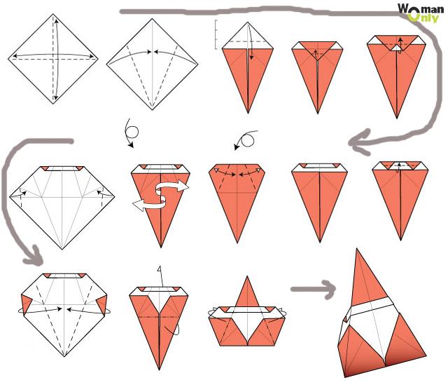 Схемы оригами дед мороз схема сборки пошаговая инструкция